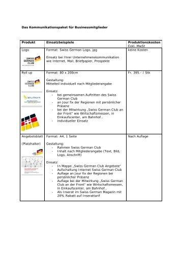 Kommunikationspaket - Swiss German Club