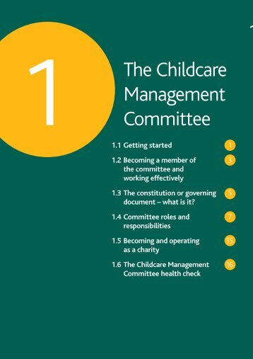 Section One - The Childcare Management Committee