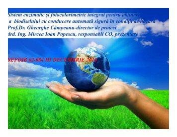 Sistem enzimatic si fotocolorimetric integrat pentru ... - Prezentare
