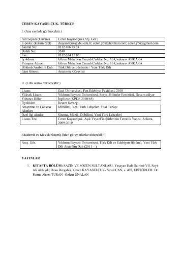 Ceren Kayaselçuk - Yıldırım Beyazıt Üniversitesi