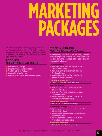 print & online marketing packages - International Builders' Show