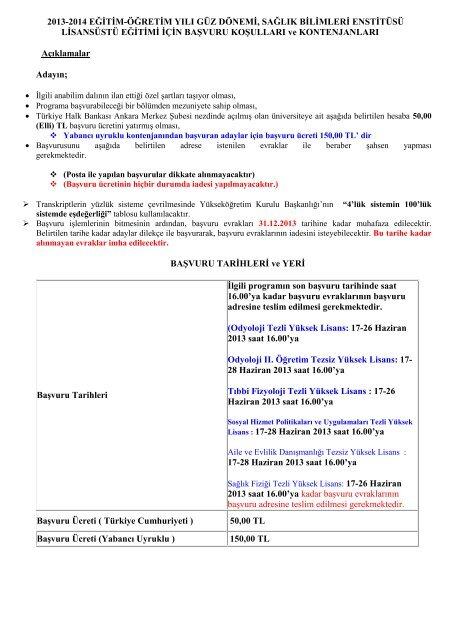 2013-2014 eğitim-öğretim yılı güz dönemi, sağlık bilimleri enstitüsü ...