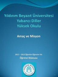YBU YDYO Amaç ve Misyonu - Yıldırım Beyazıt Üniversitesi