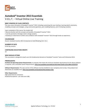 Autodesk®Inventor 2013 Essentials V.O.L.T. ... - Applied Software