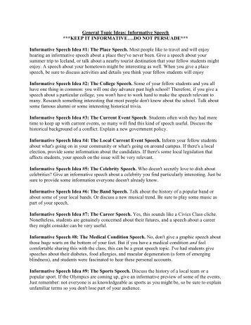 Informative Speech Topic Ideas