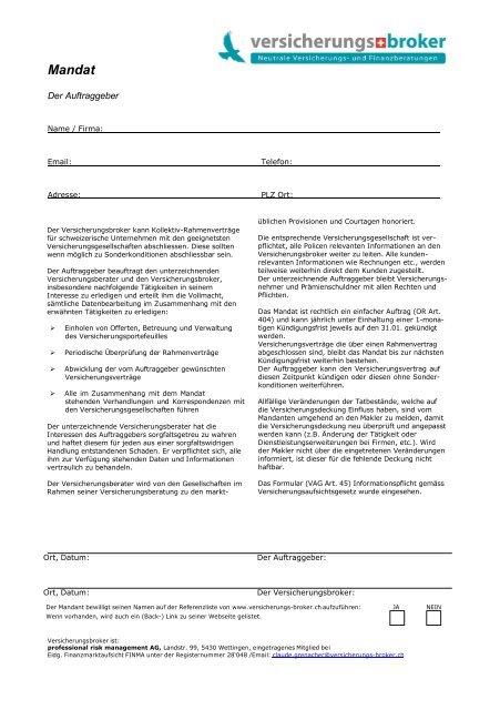 Mandat Versicherungs Broker Schweiz