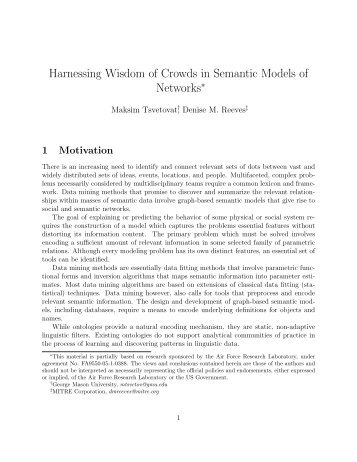 Harnessing Wisdom of Crowds in Semantic Models of Networks