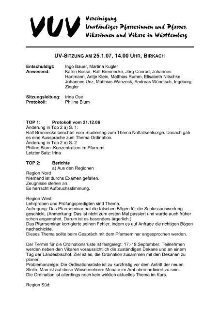 VUVVereinigung Unständiger Pfarrerinnen und Pfarrer, Vikarinnen ...