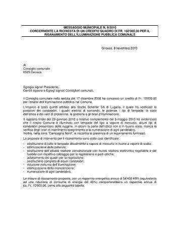 messaggio municipale n. 9/2010 concernente la richiesta di un ... - Rsi