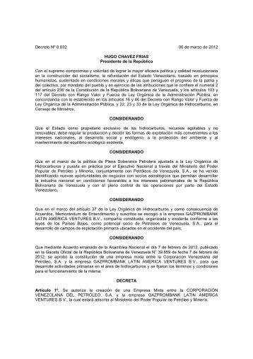Decreto Nº 8.832 06 de marzo de 2012 HUGO ... - cpzulia.org