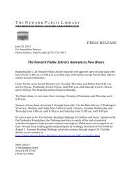 PRESS RELEASE The Newark Public Library Announces New Hours