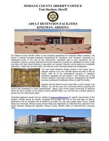 Adult detention facilities kingman, arizona - Mohave County