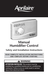 Manual Humidifier Control Safety and Installation - Aprilaire