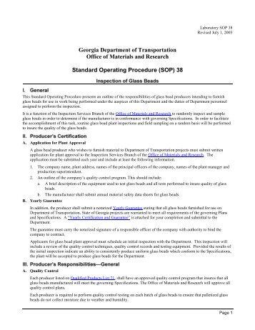 Standard Operating Procedure (SOP) 38