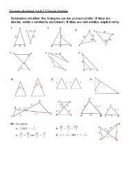 Geometry Worksheet 7.4 & 7.5 Triangle Similarity - Saratoga High ...
