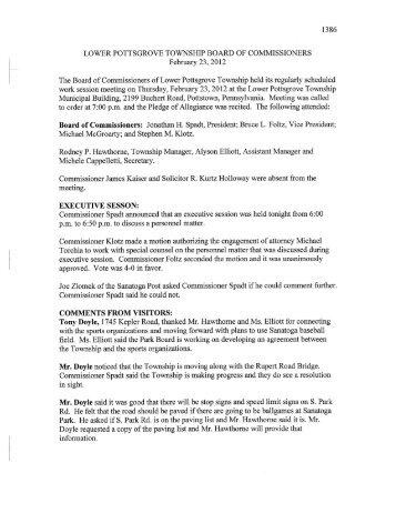 February 23, 2012 Minutes - Lower Pottsgrove Township