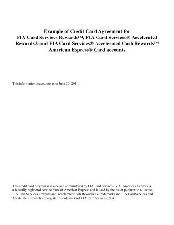 Example of Credit Card Agreement for FIA Card Services Rewards ...