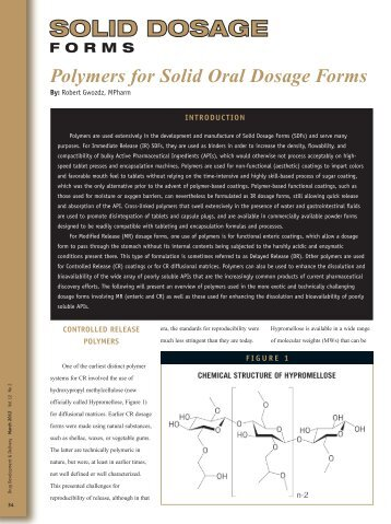 Polymers for Solid Oral Dosage Forms - Particle Sciences