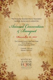 Annual Convention & Banquet - Kentucky Quarter Horse Association