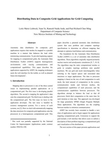 Distributing Data in Composite Grid Applications for Grid Computing