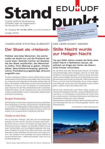 Stille Nacht wurde zur Heiligen Nacht - EDU Schweiz