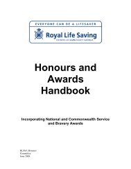 Honours and Awards Handbook - Royal Life Saving Society of ...