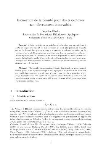 Estimation de la densité pour des trajectoires non directement ...