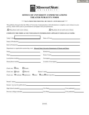 Publicity Release Form Theatre And Dance Missouri State .