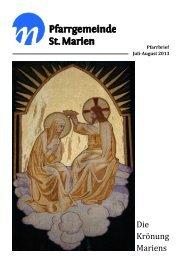 Pfarrbrief Juli-August 2013 - Kath. Kirchengemeinde St. Marien ...