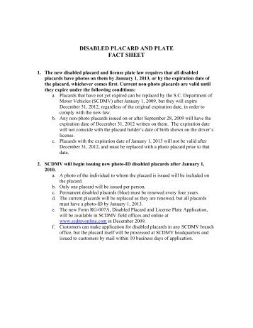 disabled placard and plate fact sheet - SC Department of Motor ...