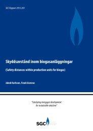 SGC Rapport 265 Skyddsavstånd inom biogasanläggningar (Safety ...