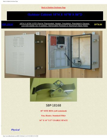 Back to Outdoor Enclosure Page - DDB Unlimited, Inc.