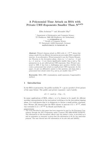 A Polynomial Time Attack on RSA with Private CRT-Exponents ...