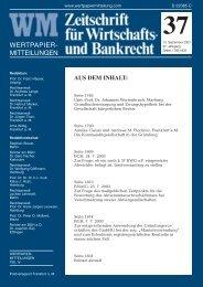 aus dem inhalt - WM Wirtschafts- und Bankrecht