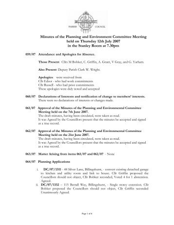 Minutes of the Planning and Environment Committee Meeting held ...