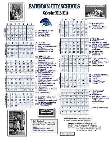 2013-14 calendar! - Fairborn City Schools