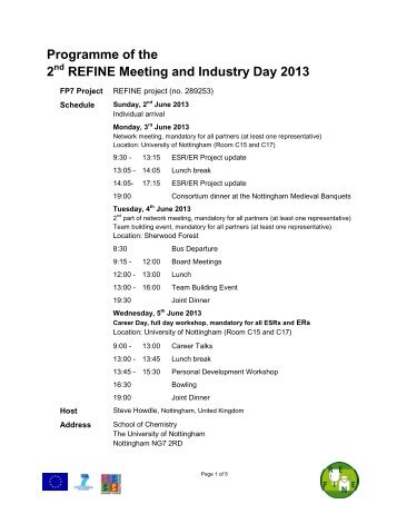 Programme of the 2 REFINE Meeting and Industry Day 2013