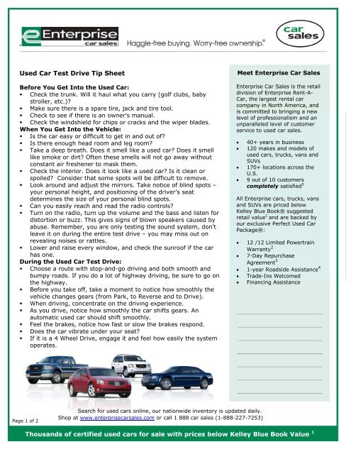 Used Car Test Drive Tipsheet from Enterprise Car Sales