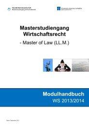 Modulhandbuch Masterstudiengang Wirtschaftsrecht