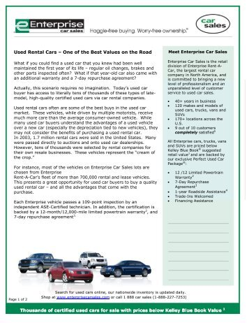 Used Rental Cars Offer Great Benefits for Used Car Buyers ...