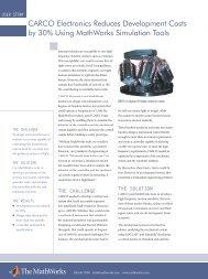 CARCO Electronics User Story - Mathworks