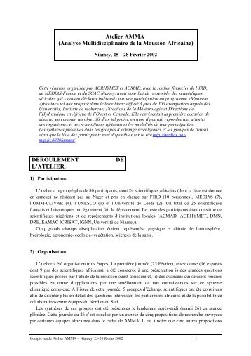 Réunion Comité de Coordination du projet Mousson Africaine - AMMA