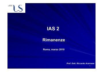 IAS 2: Rimanenze - Sapienza - Dipartimento di Diritto ed Economia ...