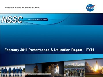 February 2011 Performance & Utilization Report – FY11 - NASA