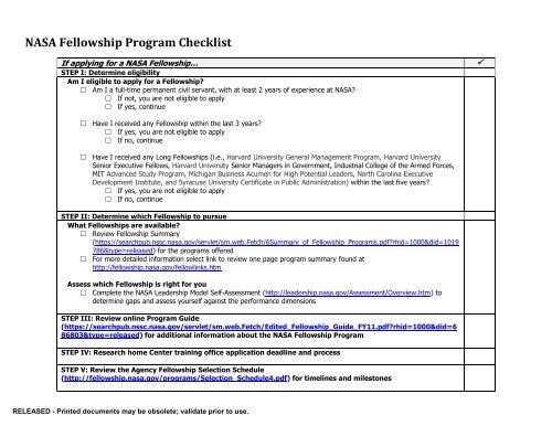 A Harvard University Guide To Executive >> Nasa Fellowship Program Checklist Nssc Public Search Engine