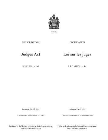 Judges Act Loi sur les juges - Lois du Canada