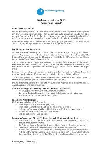 Förderausschreibung 2013 - Bielefelder Bürgerstiftung