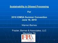Sustainability - International Oil Mill Superintendents Association