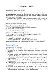 Schriftliche Prüfung Aufbau und Ablauf der Prüfung Punktezahl und ...