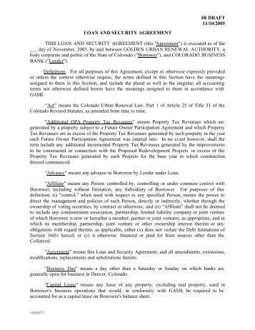 Loan And Security Agreement Covenants - Uccstuff